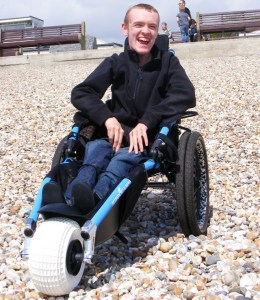 Hippocampe Wheelchair on shingle beach