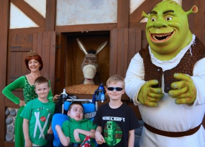In my Foam-Karve seat with my brothers and Shrek